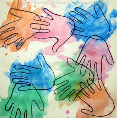 valentine handprint craft. Watercolor Handprint Craft