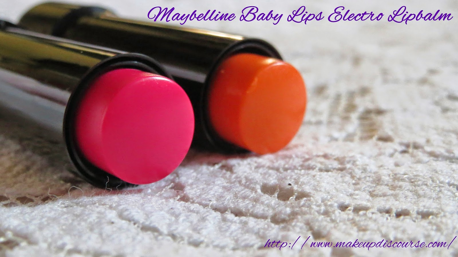 Maybelline Baby Lips Electro Pop in Oh! Orange! and Pink Shock swatches and review