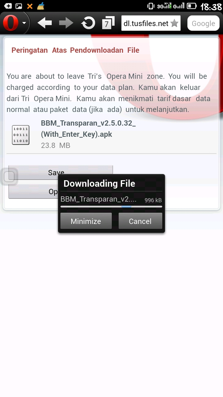 cara download di tusfiles dengan operamini