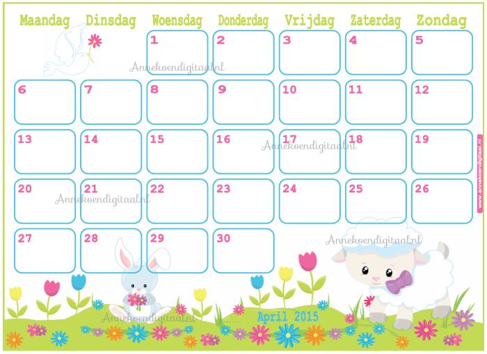 april zelf printen, kalender voor kinderen, kalender om zelf te printen, april 2015, 2015 kalender, schattige kalender, kalender voor pasen, kalender met paashaasje, kalender met lammetje