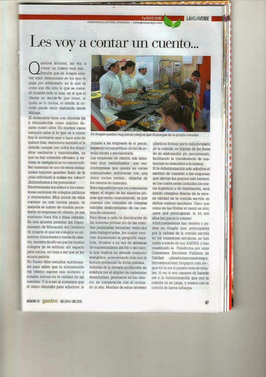 PLATAFORMA POR UNOS COMEDORES ESCOLARES PUBLICOS DE CALIDAD