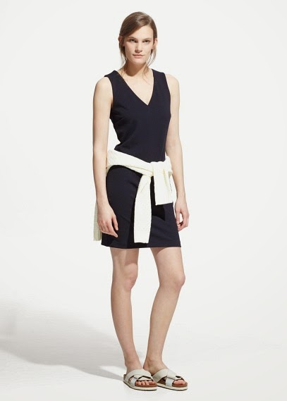 Mango 2015 Elbise Modelleri  spor kesim v yaka kolsuz siyah elbise, günlük elbise ofis için elbise