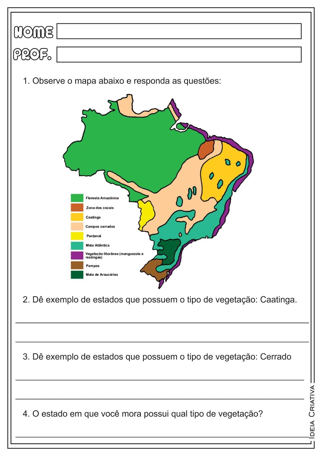 Atividades Tipos de Vegetação Geografia