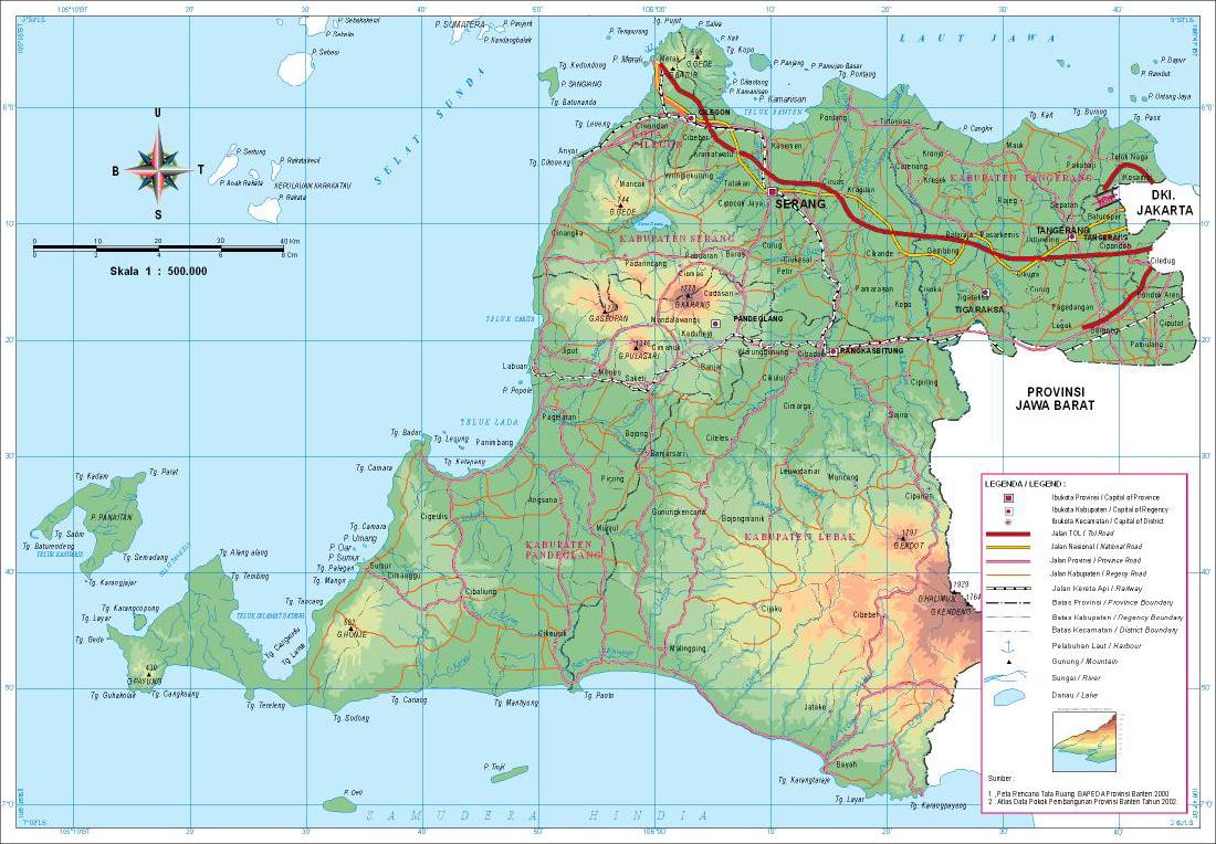 Peta Kota Provinsi Banten Gambar Buta Selat Sunda