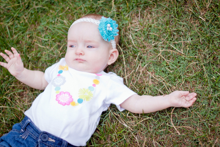 Cute baby girl photo, blue polkadot baby headband