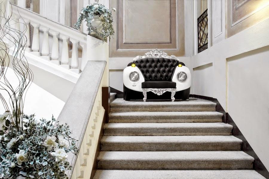 Mezcla de elementos barrocos y Art Car para el glamuroso sillón escarabajo