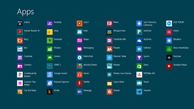 Jendela untuk melihat semua aplikasi