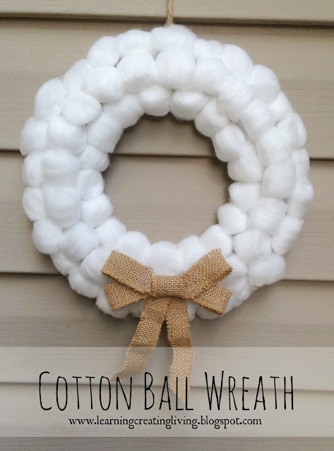 http://learningcreatingliving.blogspot.com/2013/11/cotton-ball-wreath.html