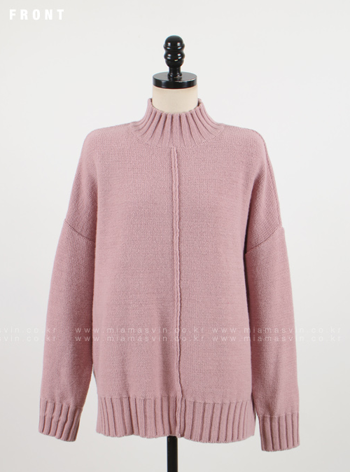 High Neck Pullover with Dropped Shoulders