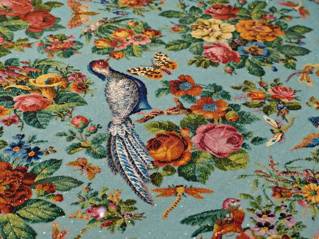 Bird, butterlfy, dragonfly and bunches of flowers beaded on Peranakan tablecloth