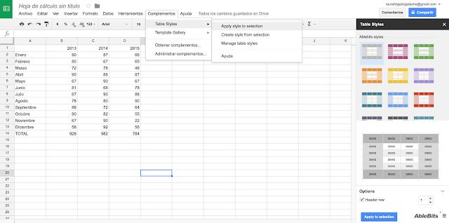 Aplicando estilos a las tablas de Google Drive con Table Styles