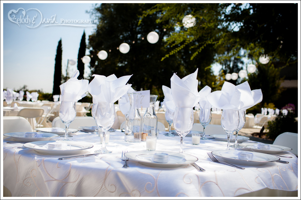 wedding table setting Mettler Family Vineyards