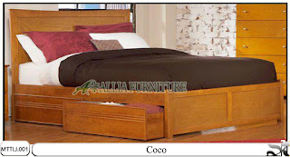 Tempat tidur jati minimalis laci coco