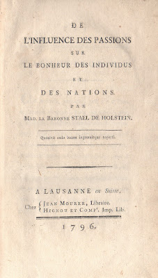 De l'influence des passions par la Baronne de Stael (1796) - Édition originale dans Bibliophilie, imprimés anciens, incunables passions_stael