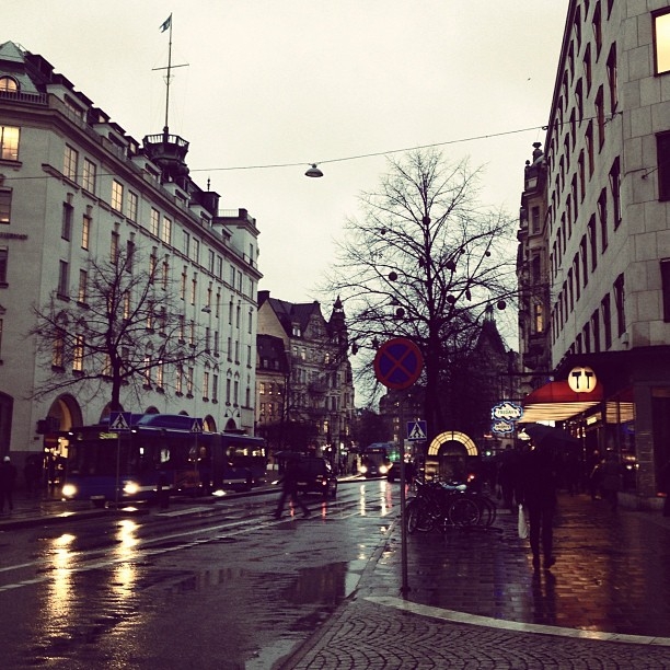 rainy weather at stureplan, stockholm, sweden