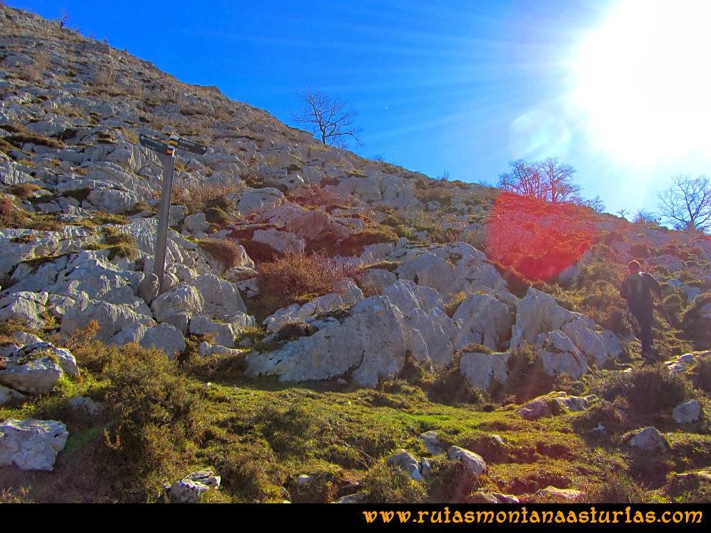 Rutas Montaña Asturias de las Pinturas Rupestres de Fresnedo: Cruce de caminos para visitar el resto de Abrigos Rupestres