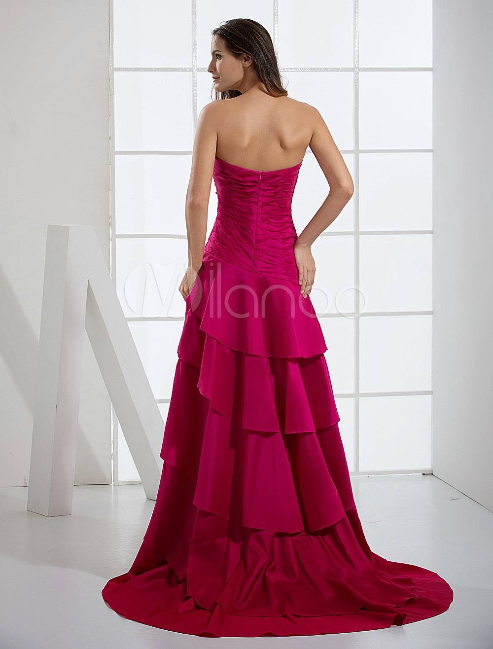 China Wholesale Dresses - Euro Style A-line Sweetheart Strapless Applique Beaded Taffeta Prom Gown