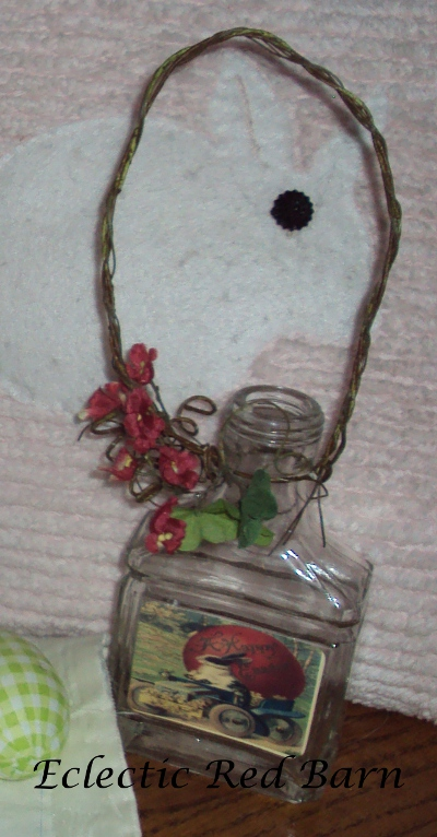 Eclectic Red Barn: Bunny jar with wire and flowers
