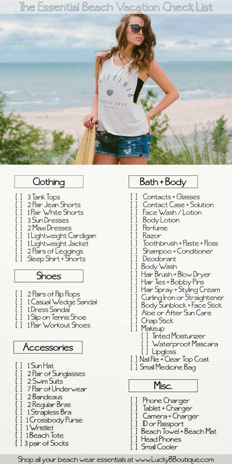 checklist for beach vacation
