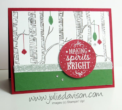 Stampin' Up! Among the Branches + Woodland Embossing Folder Christmas Card #stampinup 2015 Holiday Catalog www.juliedavison.com