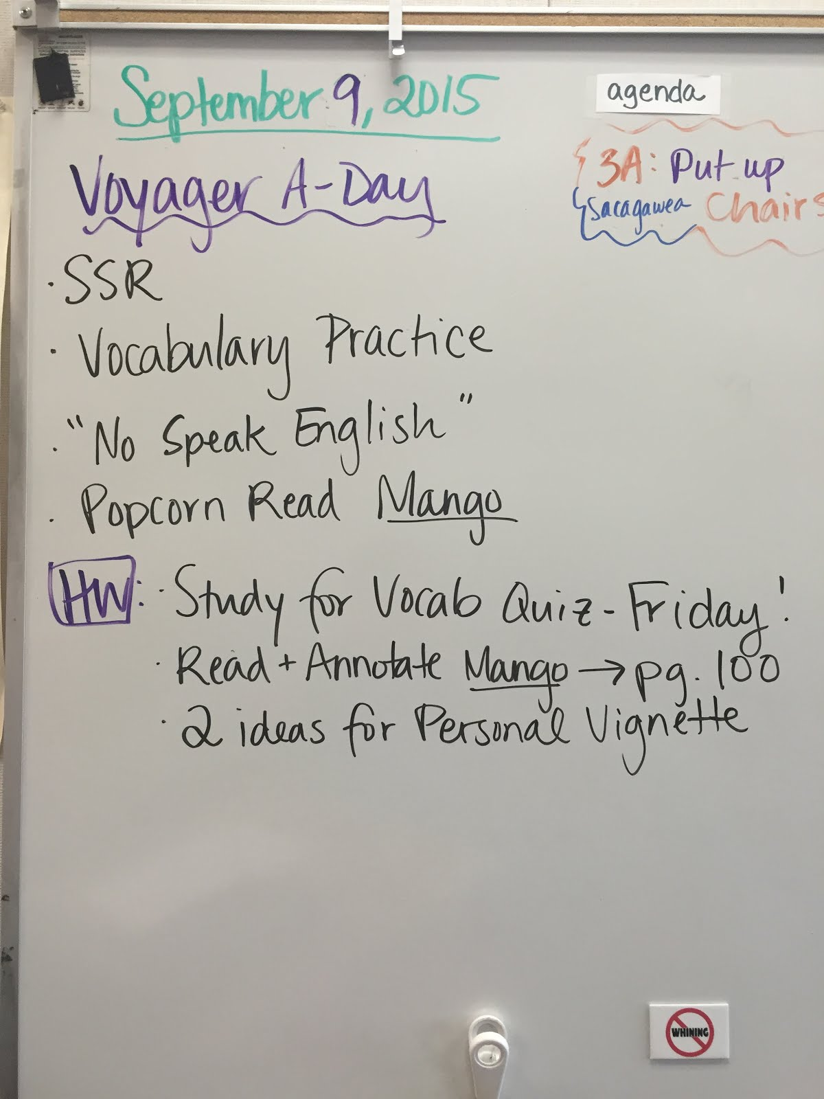 Ms. Schieffer\'s English Class: Voyager Agenda and Homework 9/9