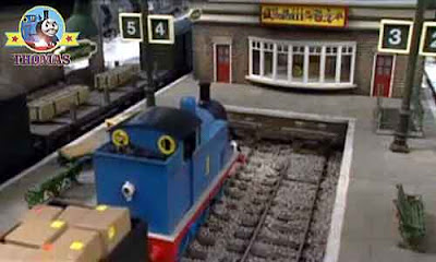 Train Thomas the tank engine at the Christmas holiday winter season childrens wooden toy shop store