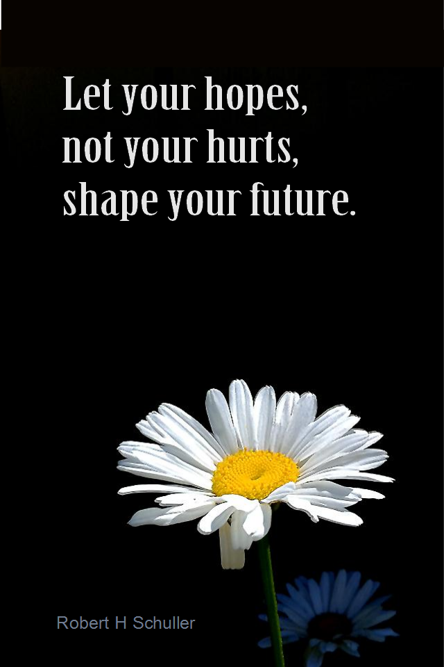 visual quote - image quotation for RELEASING - Let your hopes, not your hurts, shape your future. - Robert H Schuller