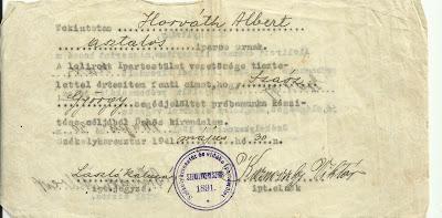 Szász György segédjelölt próbamunka beosztása Horváth Alberthez.