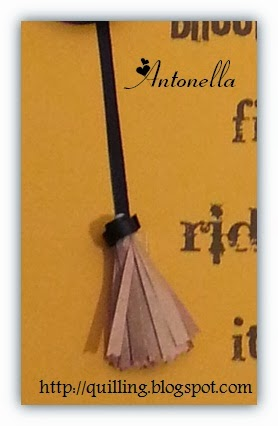 Antonella's Free Quilled Orange and Black Witches Hat and Broom