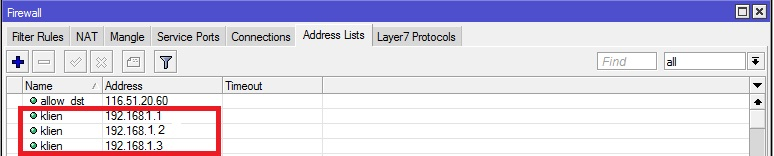 IP Firewall Adress list
