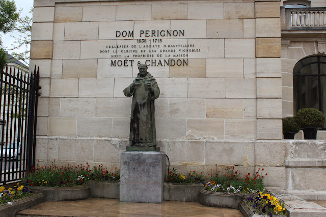 Dom Perignon statue outside Moet & Chandon, Epernay, France