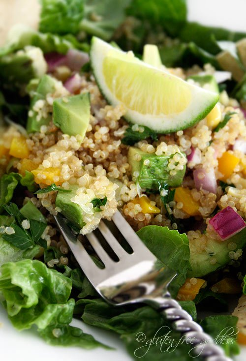 Quinoa taco salad with avocado and lime- perfect for a gluten-free diet.