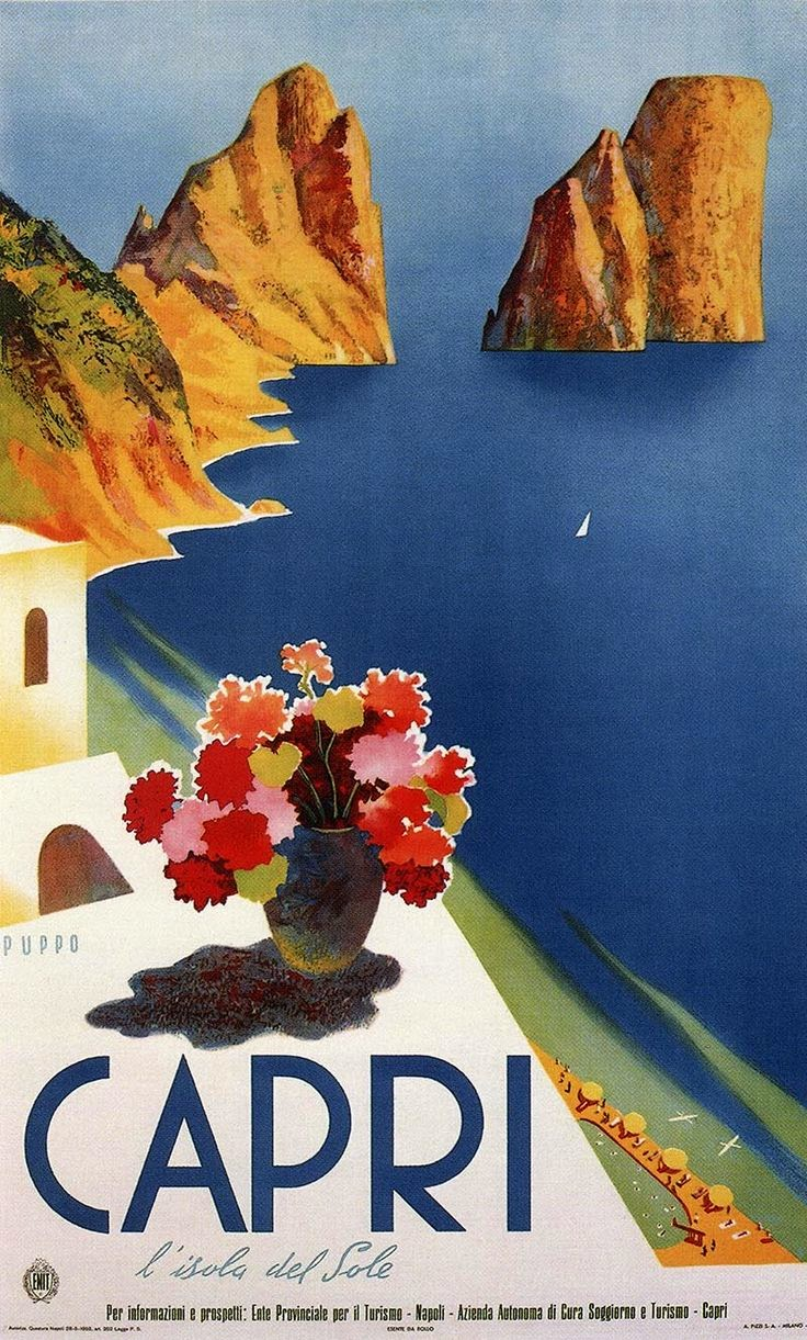 Vintage Capri, Italy travel poster