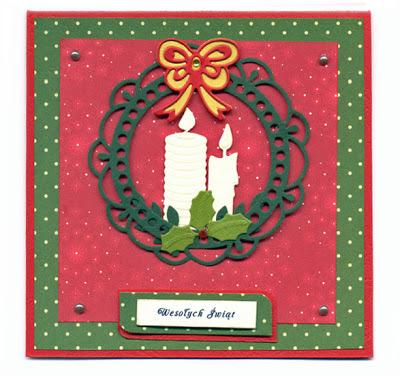 kartka zimowa świąteczna Ornate Circle Frame, wykrojnik świeczki joy Galeria Schaffar