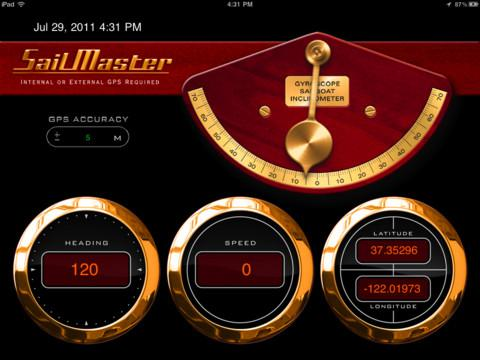 Sail Master's Aye Tides App for the iPhone Display Screen Example - Black Red