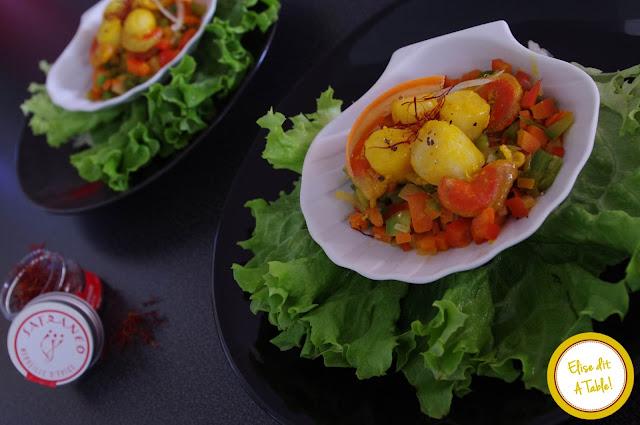 noix saint jacques safran poelee legumes