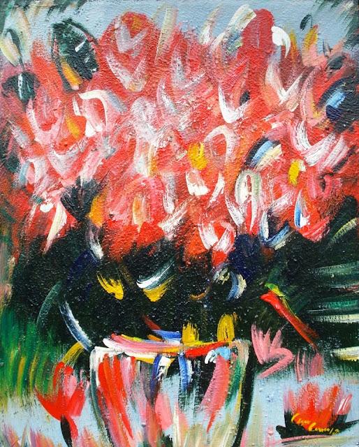 cuadros abstractos con flores hechos con esptula y acrlico leo