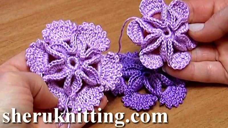 How To Crochet Flowers Thick Petals Tutorial 44 : Sheruknitting: Crochet 3D Center Flower Tutorial 7