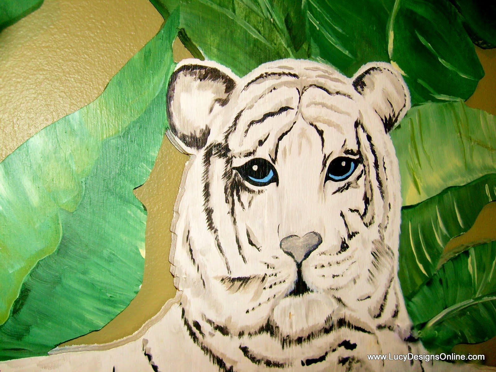 hand painted white tiger