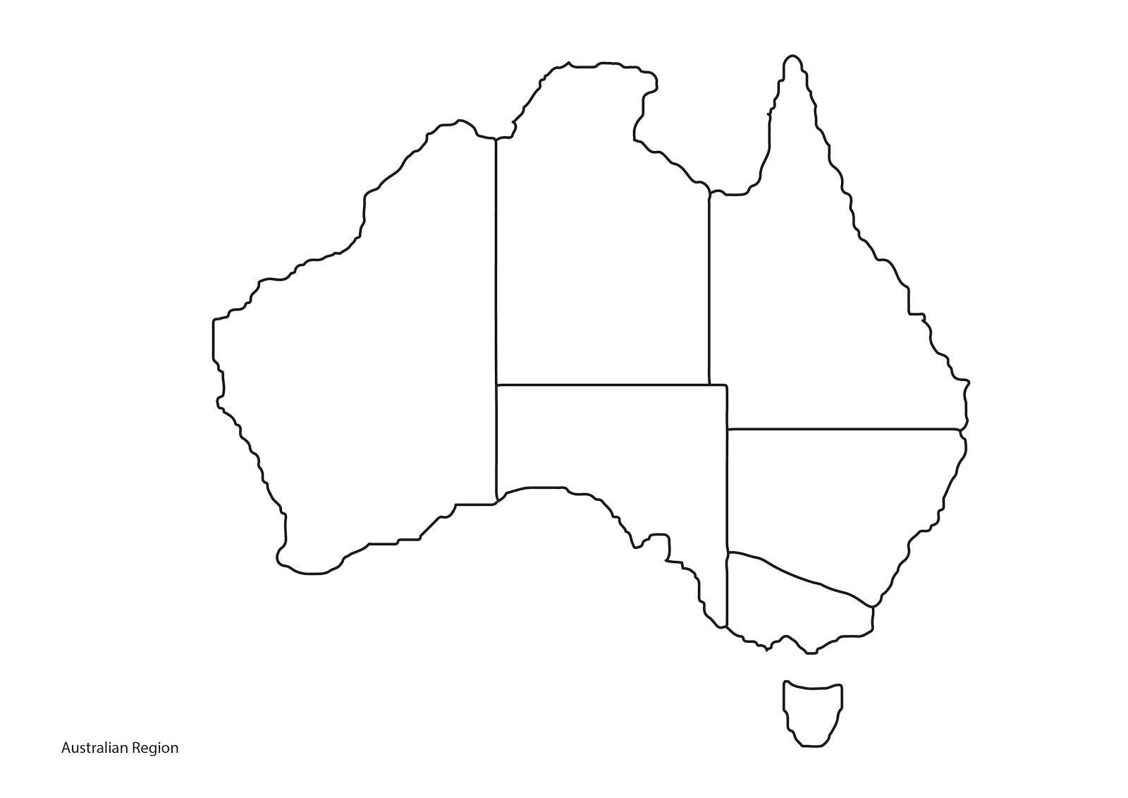 Australian Region Blank Map (Printable) | Hosted Files