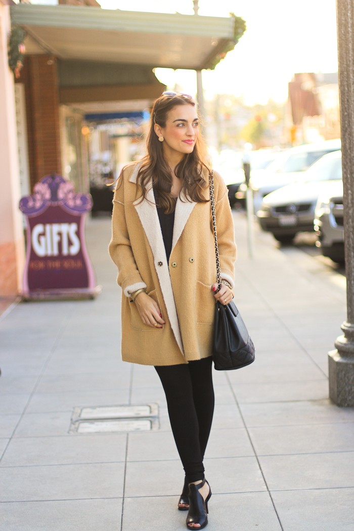 free people camel coat ensemble