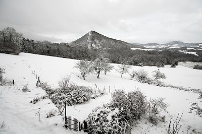 Photo of a rural landscape under the first snow