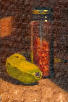 Oil painting of a tall slender jar of chillies beside a slightly unripe banana.