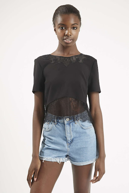 black crop lace tee, black crop lace top,