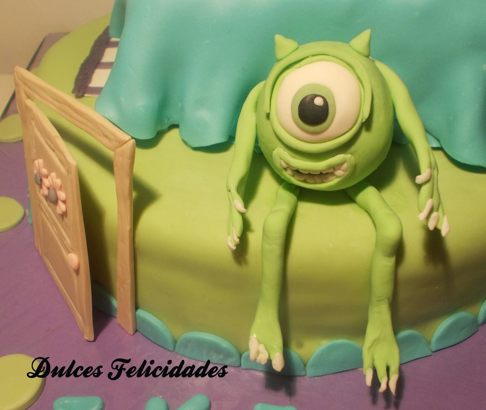 Tarta fondant Monstruos SA (Monsters inc)