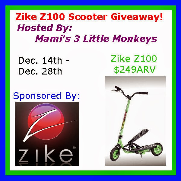 Enter to win the Zike Z100 Scooter Giveaway. Ends 12/28. ARV $249