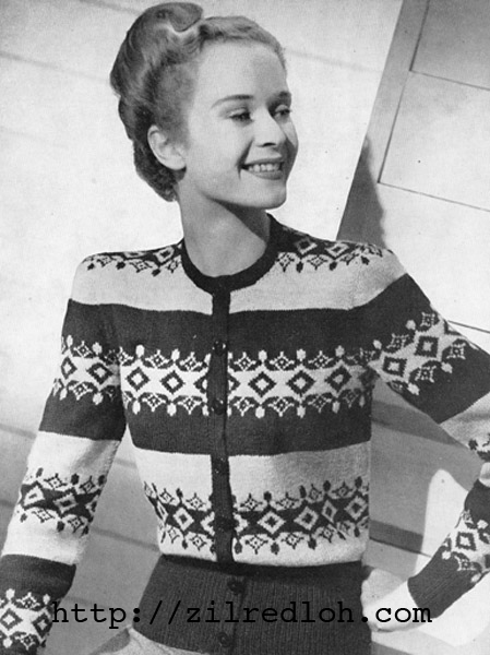 The Vintage Pattern Files 1940s Knitting Button Thro Fair Isle