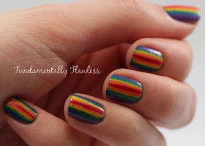Fundamentally Flawless: Rainbow stripes nail art