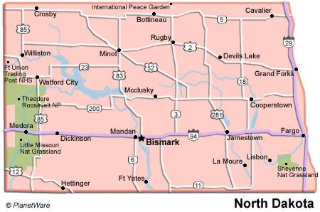 North Dakota Roads Taken - Us highway 2 map