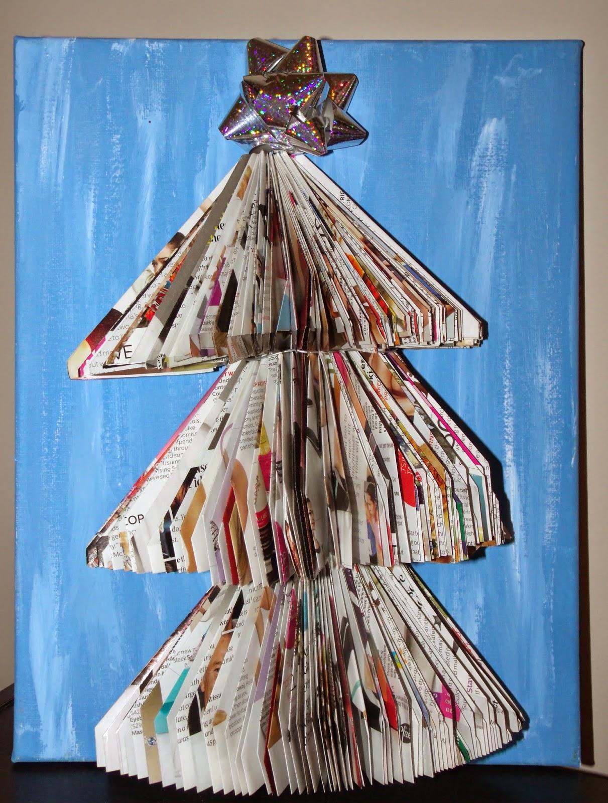 http://www.heartfeltbalancehandmadelife.com/2014/12/recycled-magazine-christmas-tree.html
